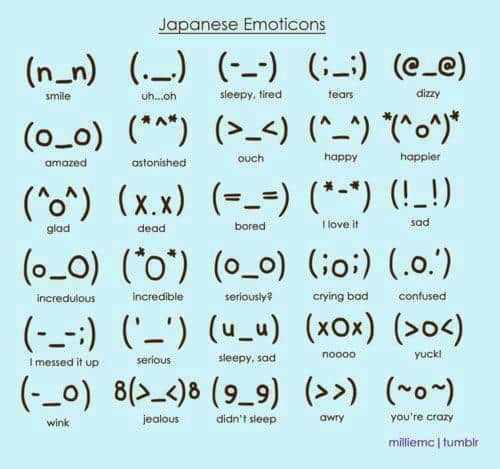 Emoticons japoneses: também utilizam sinais de pontuação, mas compondo outras figuras