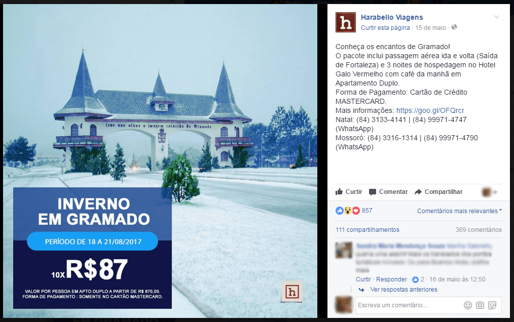 post da harabello impulsionado com facebook ads