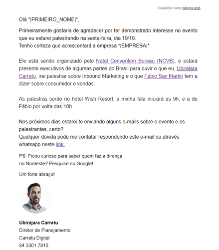 Exemplo de automação de marketing
