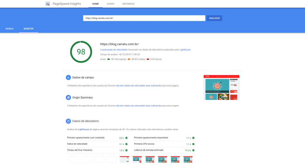 aumentar a nota no Google PageSpeed Insights