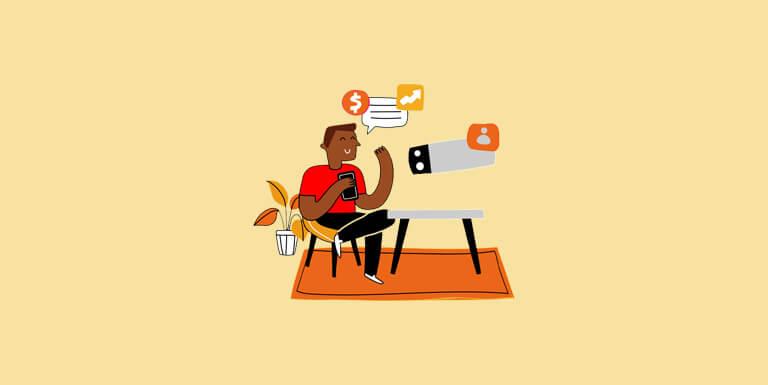 Ilustração homem sentado com o celular