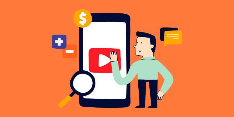 Smartphone com a logo do youtube